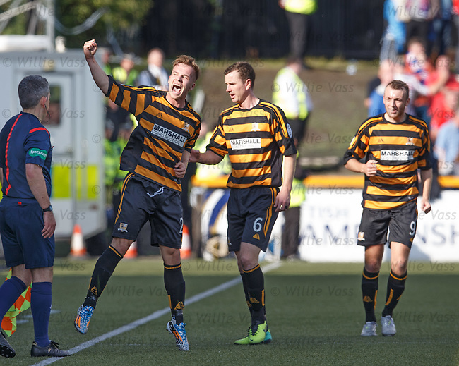 Jonathan Tiffoney celebrates his goal for Alloa against Rangers