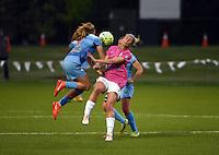 Kansas City, MO - Friday May 13, 2016: Chicago Red Stars midfielder Alyssa Mautz (4) and FC Kansas City midfielder Jen Buczkowski (6) during a regular season National Women's Soccer League (NWSL) match at Swope Soccer Village. The match ended 0-0.