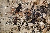 Europe/France/Auverne/63/Puy-de-Dôme/Env. de Saint-Germain-Lembron/Villeneuve-Lembron: Fresques de l'Ecurie - Scène de combat