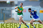 Paul O'Donoghue South Kerry in action against Cormac Coffey  Kerins O'Rahillys in the Kerry Senior Football Championship Semi Final at Fitzgerald Stadium on Saturday.