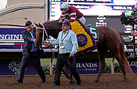 DEL MAR, CA - NOVEMBER 04: Florent Geroux, aboard Gun Runner #5 is congratulated after winning the Breeders' Cup Classic race on Day 2 of the 2017 Breeders' Cup World Championships at Del Mar Racing Club on November 4, 2017 in Del Mar, California. (Photo by Bob Mayberger/Eclipse Sportswire/Breeders Cup)