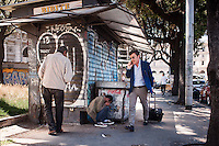 Un uomo cammina in una zona di assoluto degrado a pochi metri dalla Stazione Termini Termini.<br /> A man walking in a sleazy area close to the Termini train station.