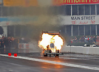 Apr 20, 2018; Baytown, TX, USA; NHRA top fuel driver Tony Schumacher explodes an engine on fire during qualifying for the Springnationals at Royal Purple Raceway. Mandatory Credit: Mark J. Rebilas-USA TODAY Sports