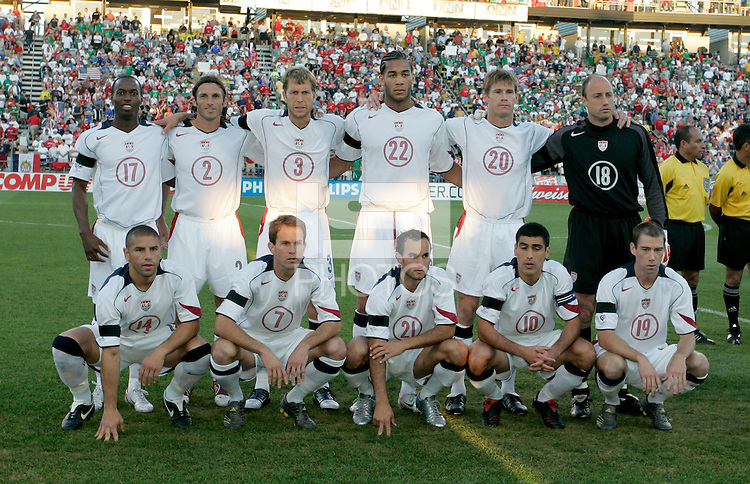 USA's starting eleven before the USA's 2-0 victory over Mexico to clinch a FIFA World Cup berth, in Columbus, OH, Saturday, Sept., 3, 2005.