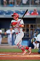 Palm Beach Cardinals second baseman Andy Young (15) follows through on a swing during a game against the Charlotte Stone Crabs on April 20, 2018 at Charlotte Sports Park in Port Charlotte, Florida.  Charlotte defeated Palm Beach 4-3.  (Mike Janes/Four Seam Images)