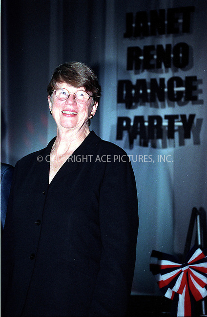 "19 July 2002 - Miami Beach, Florida - Ex-Attorney General of the United States, Janet Reno, comes out on stage to greet the crowd at her world premiere of ""Janet Reno's Dance Party,"" a fund raiser, at Level night club, South Beach, Miami Beach, Florida. REF: KGUS2054. Please Byline New York Photo Press.....NY Photo Press:  ..phone (646) 267-6913;   ..e-mail: info@nyphotopress.com"