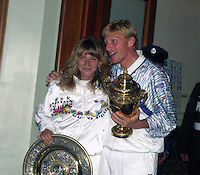 Wimbledon Championships London England 27/06/1989<br /> Steffi Graf (GER) Boris Becker _(GER) with their winners trophies<br /> Photo Roger Parker Fotosports International