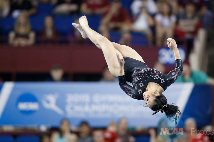 Apr 18, 2015; Fort Worth, TX, USA; Kari Lee from the University of Utah performs on the balance beam  during the Division I Women's Gymnastics Championship held at the Fort Worth Convention Center Arena in Fort Worth, Texas. Tim Heitman/NCAA Photos