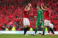 Pictured: (L-R) Michael Carrick, David De Gea, Rio Ferdinand.<br /> Sunday 12 May 2013<br /> Re: Barclay's Premier League, Manchester City FC v Swansea City FC at the Old Trafford Stadium, Manchester.