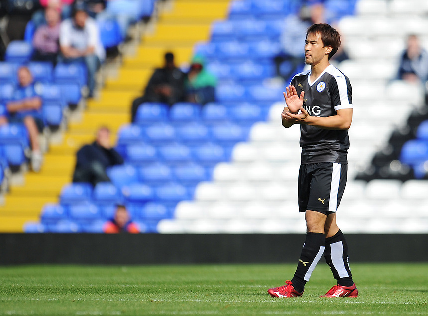 Leicester City&rsquo;s Shinji Okazaki applauds his sides second goal, scored by Robert Huth (out of picture)<br /> <br /> Photographer Kevin Barnes/CameraSport<br /> <br /> Football - Pre-Season Friendly - Birmingham City v Leicester City - Saturday 1st August 2015 - St Andrew's - Birmingham<br /> <br /> &copy; CameraSport - 43 Linden Ave. Countesthorpe. Leicester. England. LE8 5PG - Tel: +44 (0) 116 277 4147 - admin@camerasport.com - www.camerasport.com