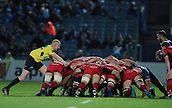 29th September 2017, RDS Arena, Dublin, Ireland; Guinness Pro14 Rugby, Leinster Rugby versus Edinburgh; Referee Ian Davies (Wales) keeps a close eye on the scrum