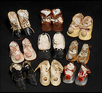 BNPS.co.uk (01202 558833)<br /> Pic: Bonhams/BNPS<br /> <br /> ***Please Use Full Byline***<br /> <br /> Nine pairs of dolls shoes. <br /> <br /> <br /> A creepy collection of almost 100 'lifelike' dolls modelled on children has emerged for sale with a whopping half a million pounds price tag. <br /> <br /> The eerie-looking toys were made in Germany in the early 20th century as dollmakers strived to produce dolls with realistic human features.<br /> <br /> The collection of 92 dolls, which includes some of the rarest ever made, has been pieced together by a European enthusiast over the past 30 years.<br /> <br /> It is expected to fetch upwards of &pound;500,000 when it goes under the hammer at London auction house Bonhams tomorrow (Weds).