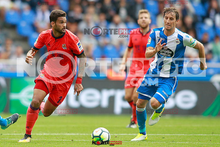 Deportivo de la Coruna's Pedro Mosquera (r) and Real Sociedad's William Jose during La Liga match. September 10,2017. (ALTERPHOTOS/Acero) /NortePhoto.com