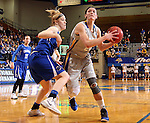BROOKINGS, SD - MARCH 23:  Megan Waytashek #24 from South Dakota State takes the ball to the basket against Sarah Nelson #42 from Creighton in the first half of their WNIT game Sunday afternoon at Frost Arena in Brookings. (Photo by Dave Eggen/Inertia)