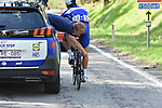 Mechanical for Philippe Gilbert (BEL) Quick-Step Floors during the 104th edition of La Doyenne, Liege-Bastogne-Liege 2018 running 258.5km from Liege to Ans, Belgium. 22nd April 2018.<br /> Picture: ASO/Karen Edwards | Cyclefile<br /> <br /> <br /> All photos usage must carry mandatory copyright credit (&copy; Cyclefile | ASO/Karen Edwards)