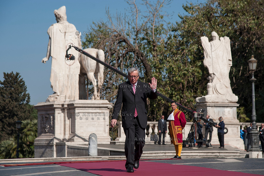 Rome, Italy, March 25,2017. European Commission President Jean-Claude Juncker arrives for an EU summit at the Palazzo dei Conservatori in Rome. EU leaders gather in Rome on Saturday to celebrate the 60th anniversary of the EU's founding treaty.