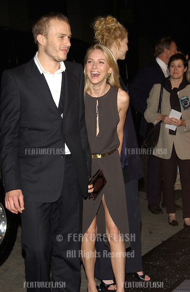Actor HEATH LEDGER & actress girlfriend NAOMI WATTS at the premiere, in Los Angeles, of Watts' new movie The Ring..09OCT2002.  © Paul Smith / Featureflash