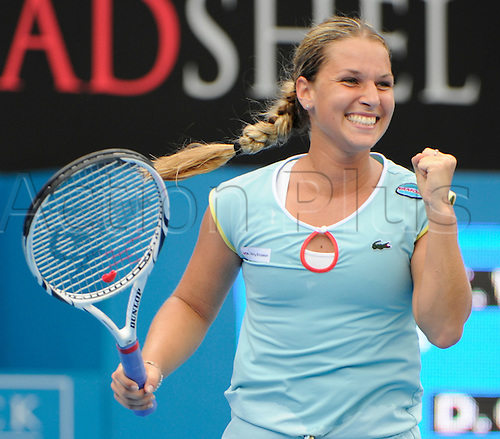 11.01.2011 The Medibank International Tennis series from the Sydney Olympic Park. Dominika Cibulkova reacts after winning her match against Caroline Wozniacki of Denmark on day three of the 2011 Medibank International at the Sydney Olympic Park Tennis Centre in Sydney, Australia.