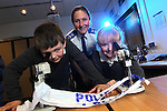 Welsh Water - National Science Week 2012..PCSO Michelle Griffiths with Kayla Blackman and Josh Patterson from Abercerdin Primary School...10.03.12.©STEVE POPE