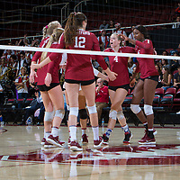 STANFORD, CA - November 3, 2018: Meghan McClure, Tami Alade, Audriana Fitzmorris, Jenna Gray, Kathryn Plummer at Maples Pavilion. No. 1 Stanford Cardinal defeated No. 15 Colorado Buffaloes 3-2.