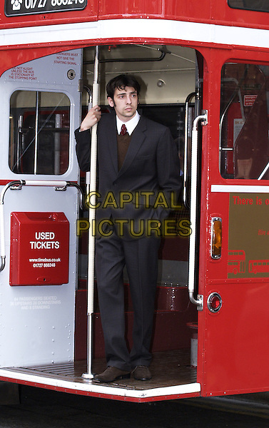 "RALPH LITTLE.Photocall for launch of new play, ""Billy Liar"", Duke of York Theatre,.London,.18th May 2004..full length full-length red bus cast.www.capitalpictures.com.sales@capitalpictures.com.©Capital Pictures"