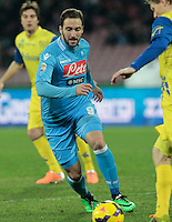 Gonzalo Higuain  in action during the Italian Serie A soccer match between SSC Napoli and Chievo  at San Paolo stadium in Naples, January 25, 2014