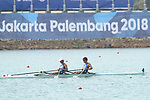 Masahiro Takeda &  Masayuki Miyaura (JPN), <br /> AUGUST 20, 2018 - Rowing : <br /> Men's Lightweight Double Sculls  Heat <br /> at Jakabaring Sport Center Lake <br /> during the 2018 Jakarta Palembang Asian Games <br /> in Palembang, Indonesia. <br /> (Photo by Yohei Osada/AFLO SPORT)