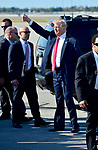 WEST PALM BEACH, FL - FEBRUARY 17: U.S. President Donald J. Trump waves to supporters after arriving on Air Force One at the Palm Beach International airport as they prepare to spend part of the weekend at Mar-a-Lago resort on February 17, 2017 in West Palm Beach, Florida. After touring and meeting with Dennis Muilenburg Chairman of the Board, President, and CEO of the Boeing Company in North Charleston, South Carolina.  President Trump schedule to hold a campaign rally tomorrow at Melbourne Florida. ( Photo by Johnny Louis / jlnphotography.com )