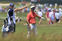 Paul Casey (ENG) and John Mclaren on the 8th hole during Saturday's Round 3 of the 118th U.S. Open Championship 2018, held at Shinnecock Hills Club, Southampton, New Jersey, USA. 16th June 2018.<br /> Picture: Eoin Clarke | Golffile<br /> <br /> <br /> All photos usage must carry mandatory copyright credit (&copy; Golffile | Eoin Clarke)