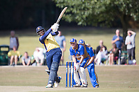 Rishi Patel lofts a maximum over wide long on during Upminster CC vs Essex CCC, Benefit Match Cricket at Upminster Park on 8th September 2019