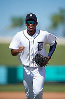 Detroit Tigers Jose Azocar (31) jogs to the dugout during an Instructional League game against the Toronto Blue Jays on October 12, 2017 at Joker Marchant Stadium in Lakeland, Florida.  (Mike Janes/Four Seam Images)