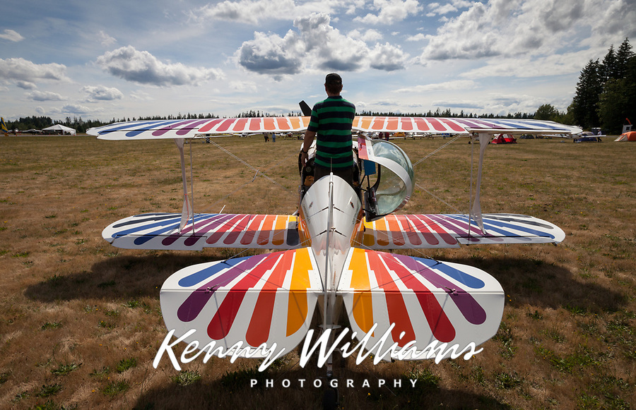Multicolored White Biplane, Arlington Fly-In 2016, Washington State, USA.