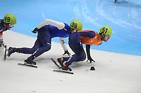 SHORTTRACK: DORDRECHT: Sportboulevard Dordrecht, 24-01-2015, ISU EK Shorttrack, Vladislav BYKANOV (ISR | #39), Sjinkie KNEGT (NED | #51), ©foto Martin de Jong