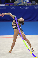 Oct 01, 2000; SYDNEY, AUSTRALIA:<br /> Yulia Raskina (BLR) performs ribbon during rhythmic gymnastics final at 2000 Summer Olympics. Yulia took silver medal.