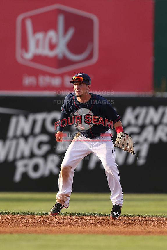 Alex Bregman (6) of the Lancaster JetHawks, the second player overall to be chosen in the 2015 MLB draft, in the field at shortstop during a game against the Bakersfield Blaze at The Hanger on August 5, 2015 in Lancaster, California. Bakersfield defeated Lancaster, 12-5. (Larry Goren/Four Seam Images)