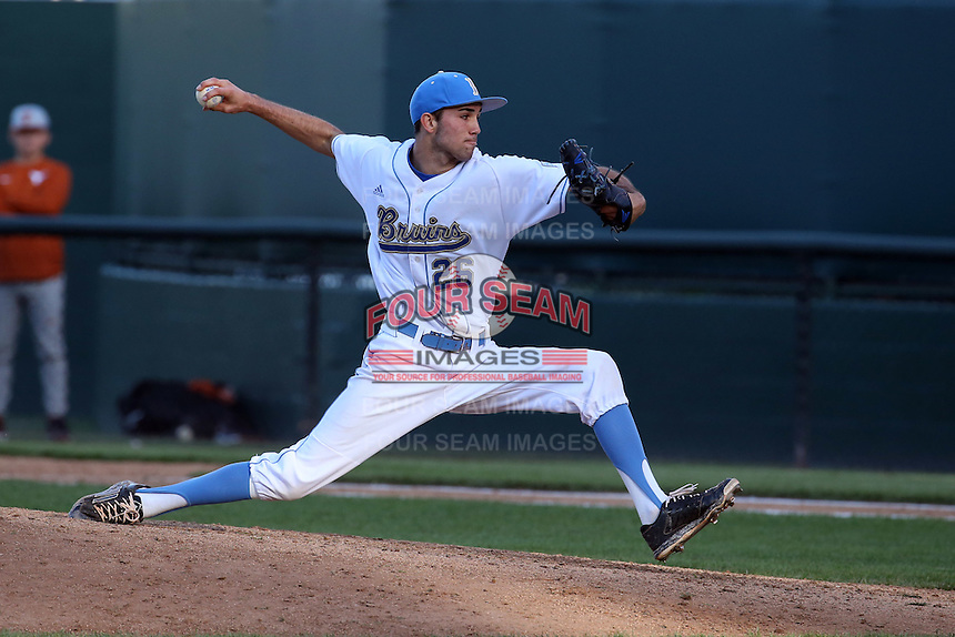 Brian Gadsby (26) of the UCLA Bruins pitches during a game against the Texas Longhorns at Jackie Robinson Stadium on March 12, 2016 in Los Angeles, California. UCLA defeated Texas, 5-4. (Larry Goren/Four Seam Images)