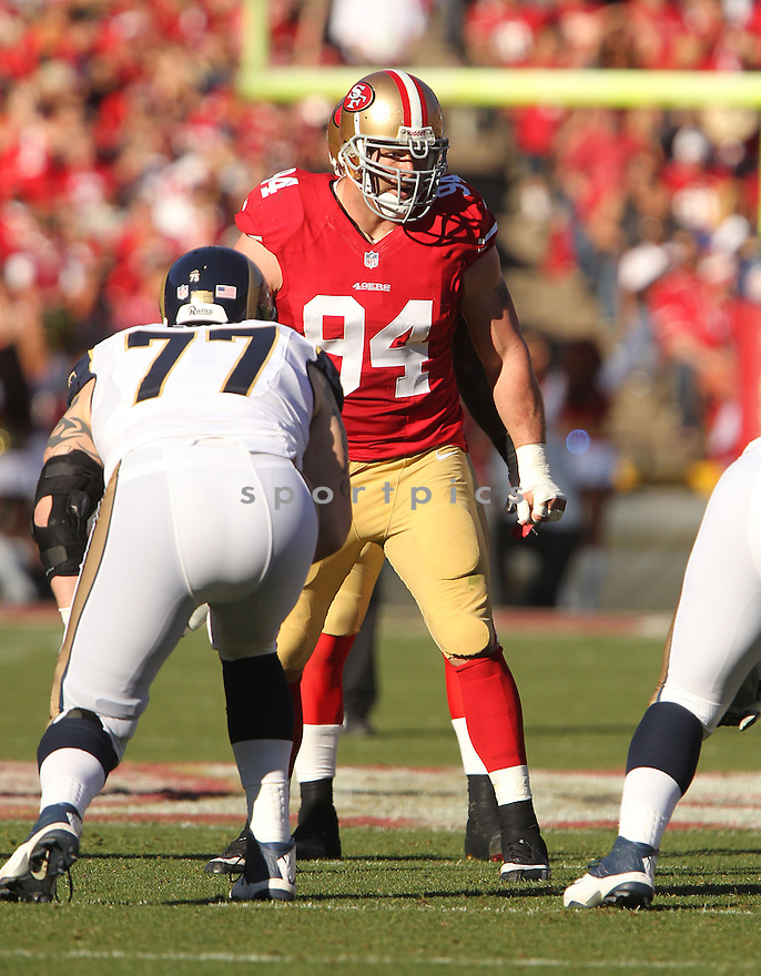 San Francisco 49ers Justin Smith (94) during a game against the St. Louis Rams on December 1, 2013 at Candlestick Park in San Francisco, CA. The 49ers beat the Rams 23-13.