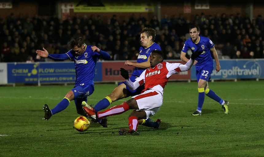 Fleetwood Town's Devante Cole with a second half shot at goal<br />