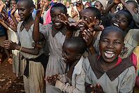 KENYA Thika near Nairobi, Primary schhol, Simbi Roses a fair trade rose flower farm has donated school furniture, toilets, water supply and class room renovations from fair trade premium / KENIA Thika bei Nairobi, Grundschule, Simbi Roses eine fairtrade zertifizierte Blumenfarm hat mir fairtrade Praemien neues Schulmobilar, Toiletten, Wasserversorgung und Renovierung von Klassenraeumen unterstuetzt