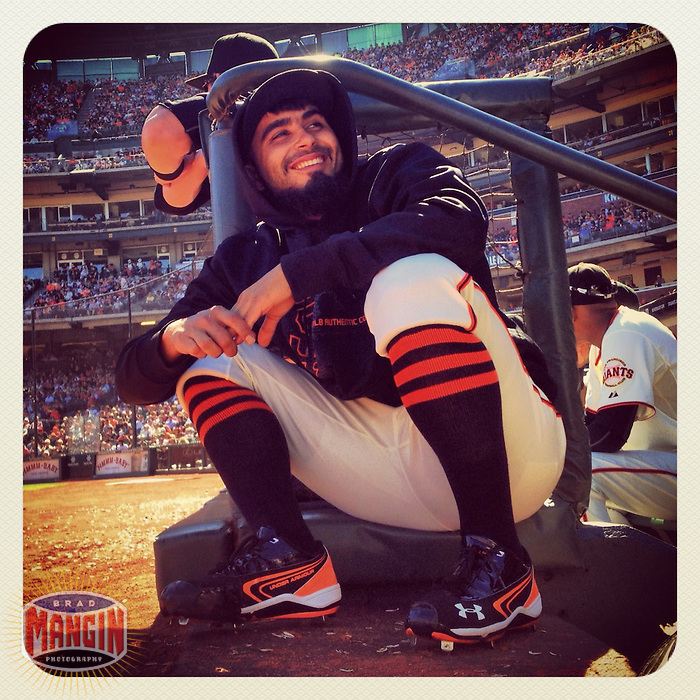 SAN FRANCISCO, CA - SEPTEMBER 3: Instagram of Sergio Romo of the San Francisco Giants sitting on the dugout steps during the game against the Arizona Diamondbacks at AT&T Park on September 3, 2012 in San Francisco, California. Photo by Brad Mangin