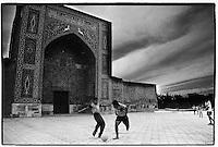 Uzbekistan - Samarkand - Football match in front of Khodja Akrar complex.