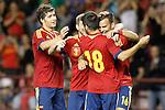 Spain's Sergi Roberto, Alberto Moreno, Carles Gil and Jese Rodriguez celebrate goal during international match of qualifying for Euro Under-21 2015.September 09,2013.(ALTERPHOTOS/Acero)