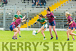 Sarah Houlihan Kerry gets her pass off under severe from Rachel Dillon and  Maud Anne Foley Westmeath pressure during their All Ireland SFC game in Fitzgerald Stadium on Sunday