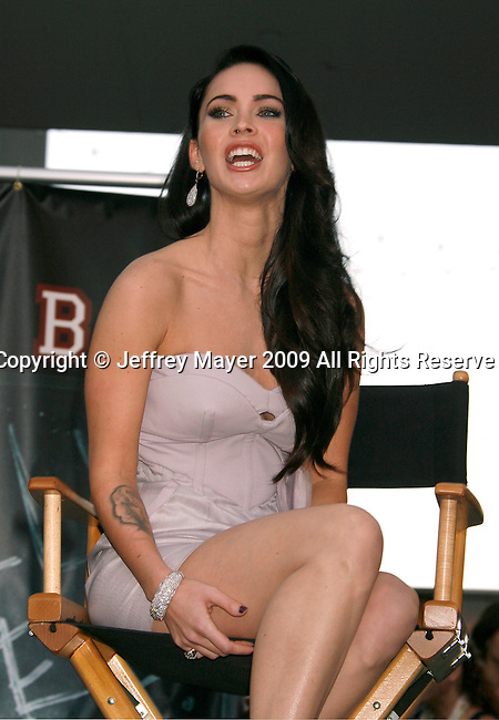"HOLLYWOOD, CA. - September 16: Megan Fox answers questions at ""Jennifer's Body"" Hot Topic Fan Event at Hot Topic on September 16, 2009 in Hollywood, California."