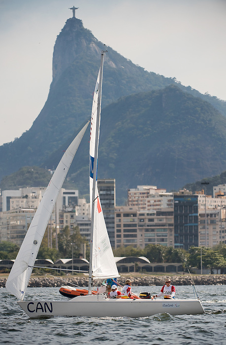 RIO DE JANEIRO - 13/9/2016:  Paul Tingley, Scott Lutes and Logan Campbell compete in the 3-Person Keelboat (Sonar) at the Marina da Gloria during the Rio 2016 Paralympic Games in Rio de Janeiro, Brazil. (Photo by Matthew Murnaghan/Canadian Paralympic Committee)
