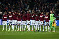 West Ham players observe a minutes silence for the Leicester air crash victims before West Ham United vs Tottenham Hotspur, Caraboa Cup Football at The London Stadium on 31st October 2018