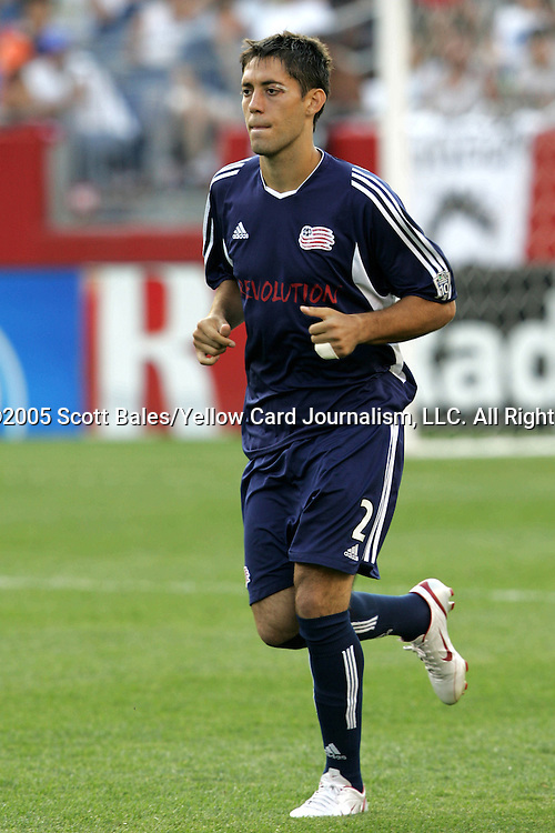 16 July 2005: New England's Clint Dempsey, pregame. The New England Revolution defeated FC Dallas 3-2 at Gillette Stadium in Foxboro, Massachusetts in a Major League Soccer regular season match.