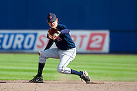 14 September 2009: Jason Holowaty of Great Britain is seen on defense during infield practice prior to the 2009 Baseball World Cup Group F second round match game won 15-5 by South Korea over Great Britain, in the Dutch city of Amsterdan, Netherlands.