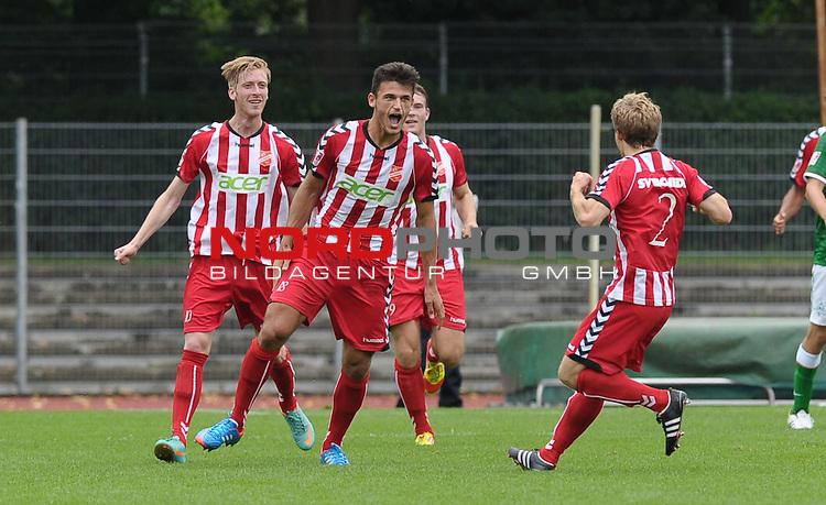 18.08.2013, Platz 11, Bremen, GER, RLN, Werder Bremen II vs SV Eichede, im Bild Jubel bei Haris Huseni (Eichede #18)<br /> <br /> Foto &copy; nph / Frisch