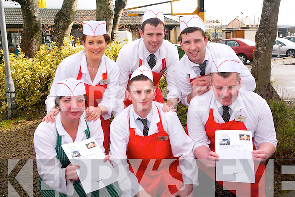 Staff at Seamus O'Sullivan Butchers will take time out to undertake a charity walk in aid of the Kerry Health Link Bus on Sunday, May 5th. .Front L-R Sinead Nagle, Sean House and John Bowler. .Back L-R Bridget Moynihan, Timmy Flaherty and Chris Bentley.